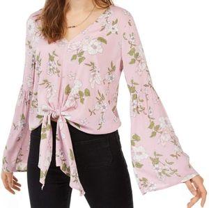 🆕️Pink tie front floral top
